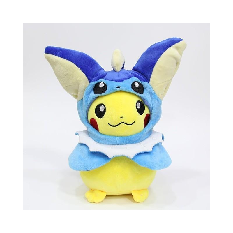 Peluche pikachu déguisé en aquali 28 cm