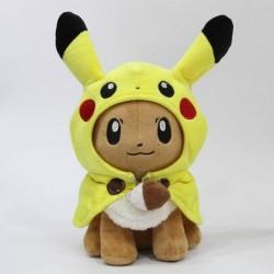 Peluche évoli déguisé en pikachu 28 cm