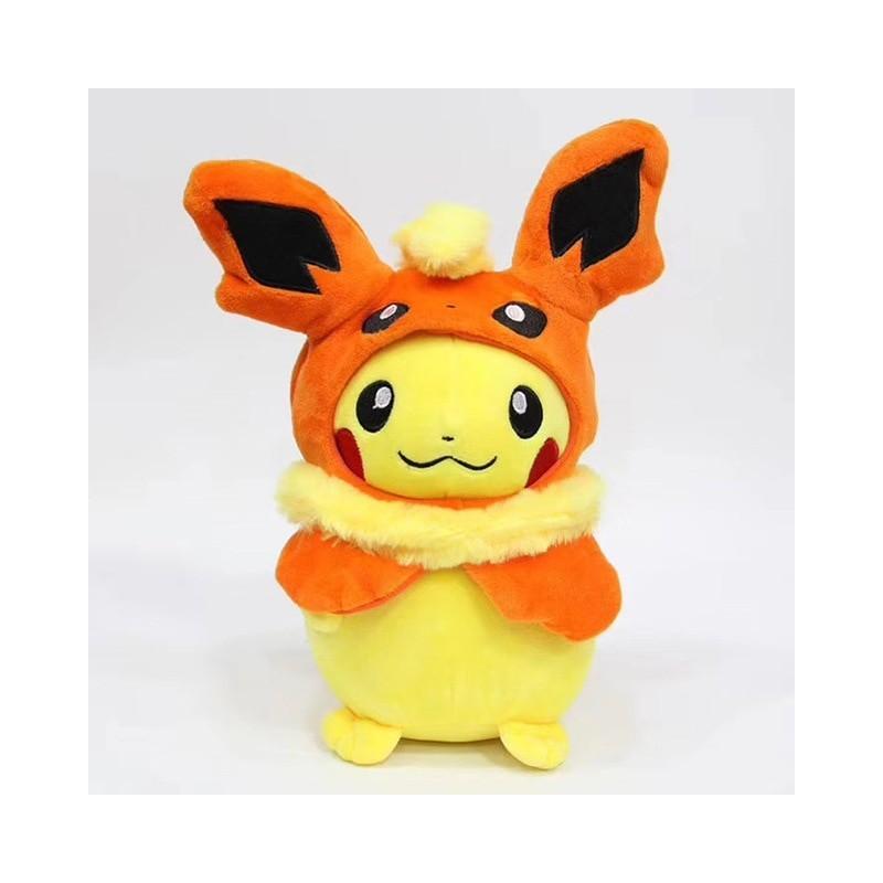 Peluche pikachu déguisé en pyroli 28 cm