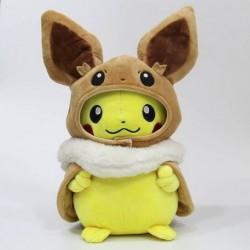 Peluche pikachu déguisé en evoli 28 cm