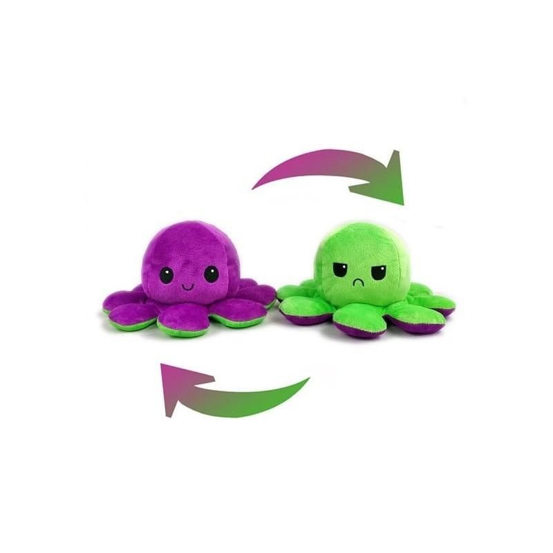 Pieuvre réversible en peluche violet et vert