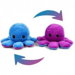 Pieuvre réversible en peluche bleu et violet