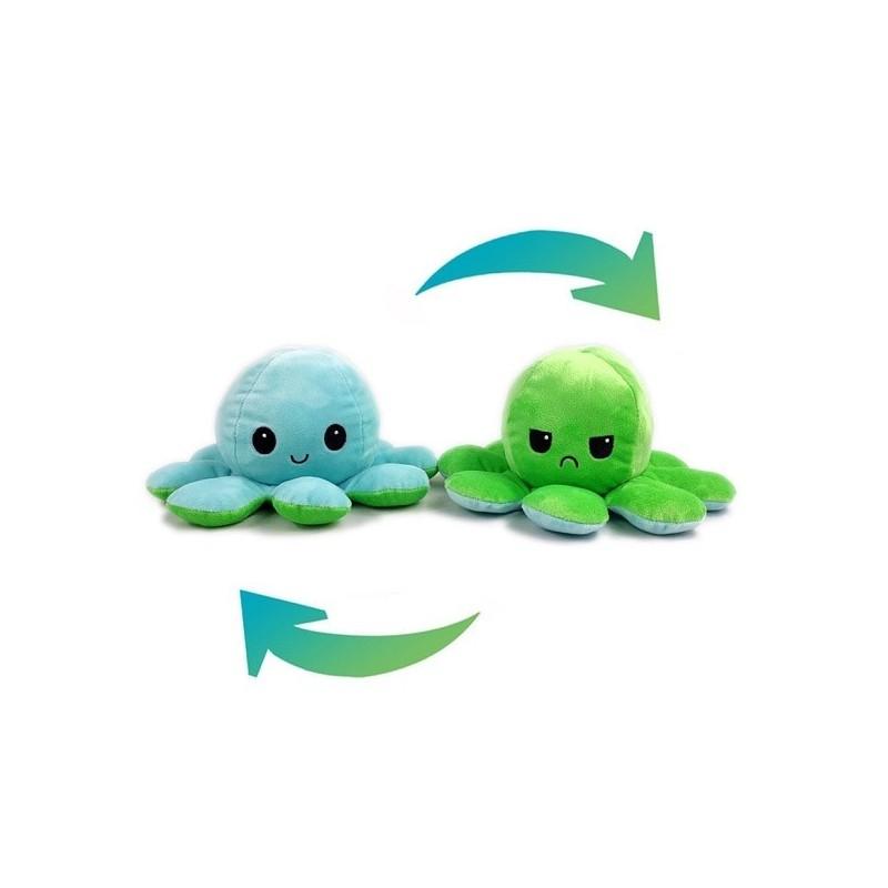 Pieuvre réversible en peluche bleu et vert