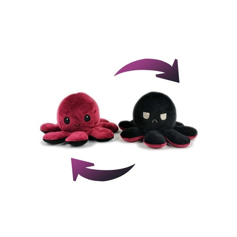 Pieuvre réversible en peluche rouge et noir