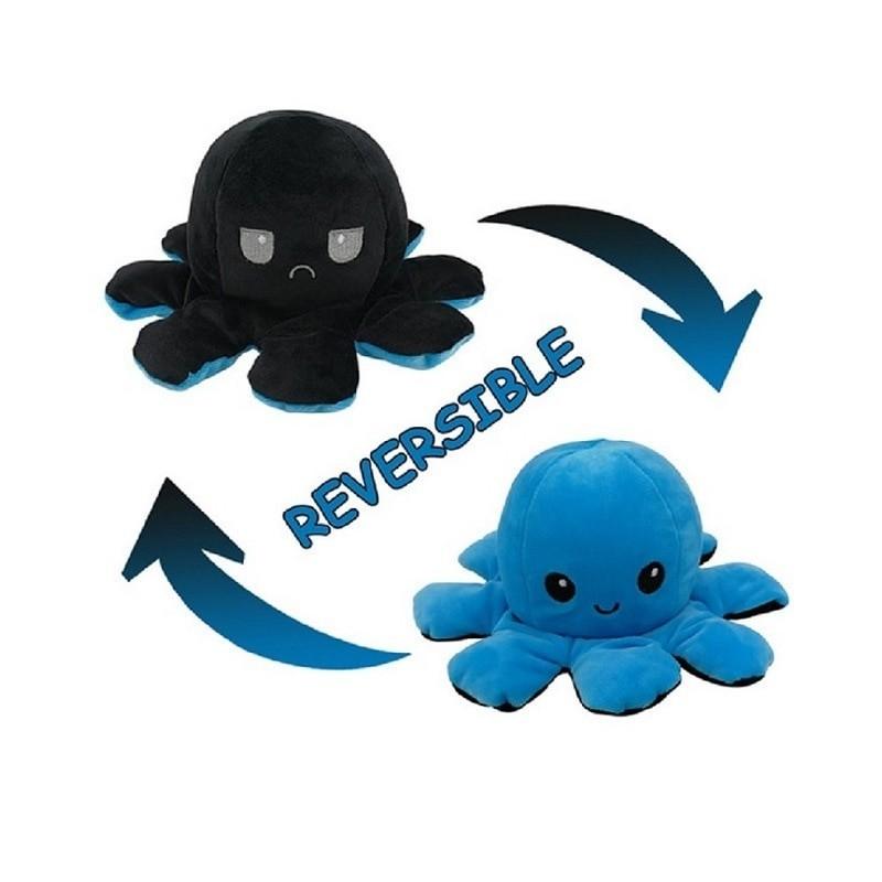 Pieuvre réversible en peluche noir et bleu