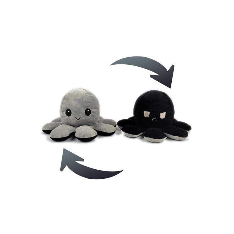 Pieuvre réversible en peluche gris et noir