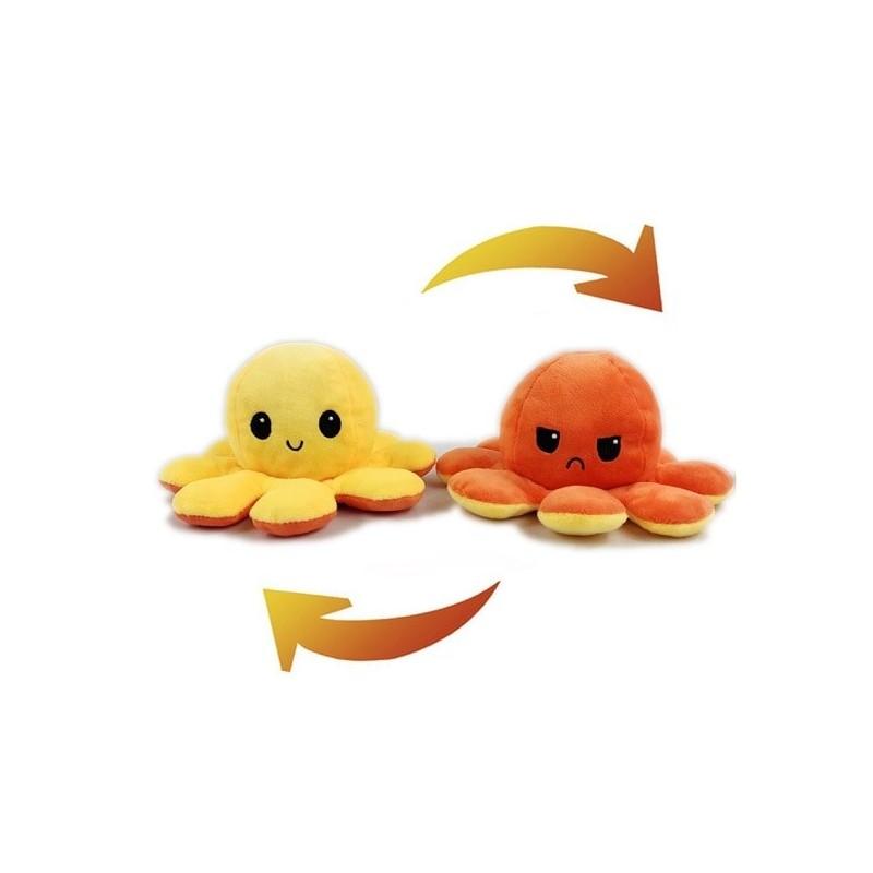 Pieuvre réversible en peluche jaune et orange