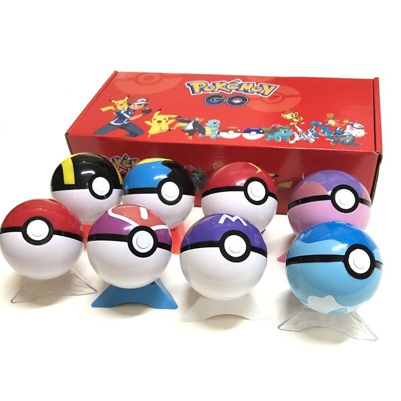 Lot de 8 pokéball avec figurines pokémon