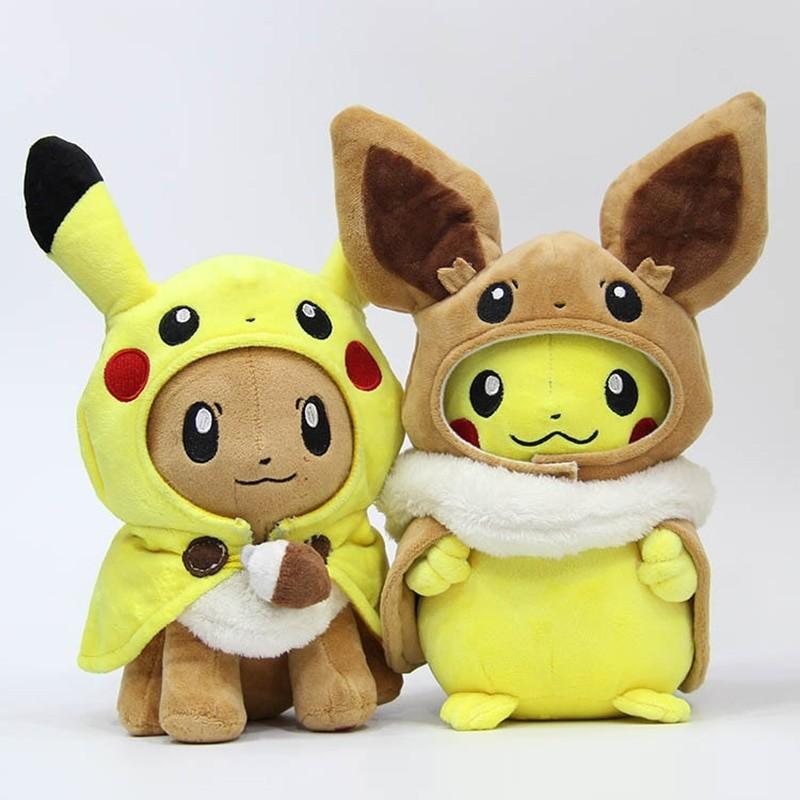 Lot de 2 peluches pikachu et evoli 30 cm