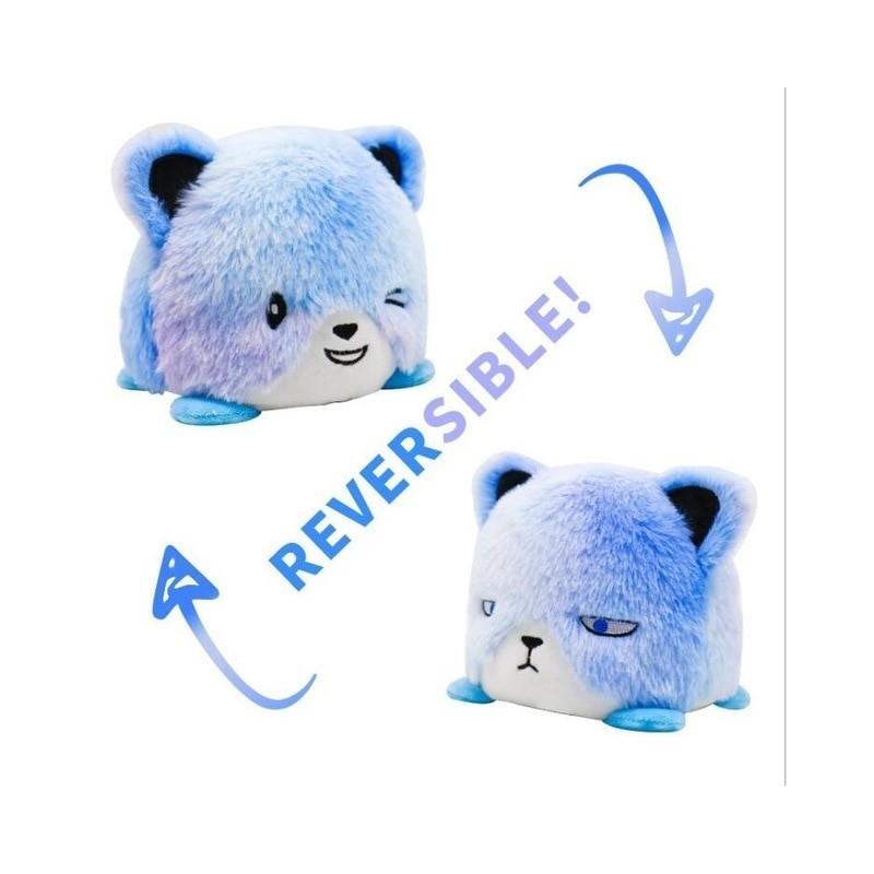 peluche réversible ours bleu