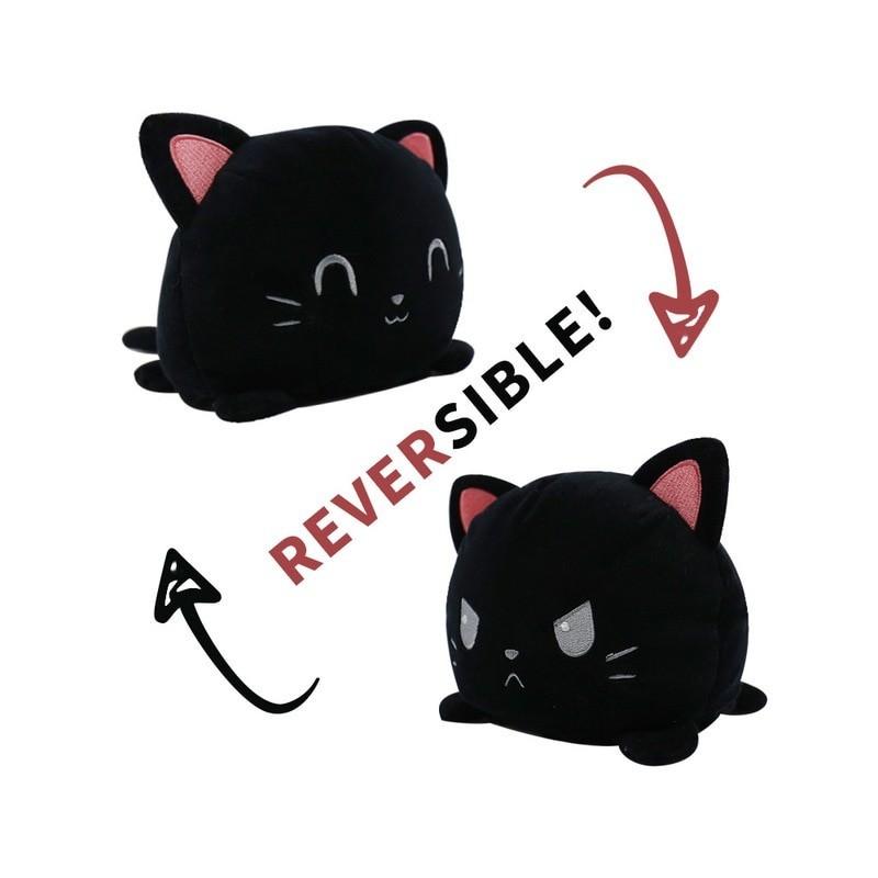 peluche chat réversible noir