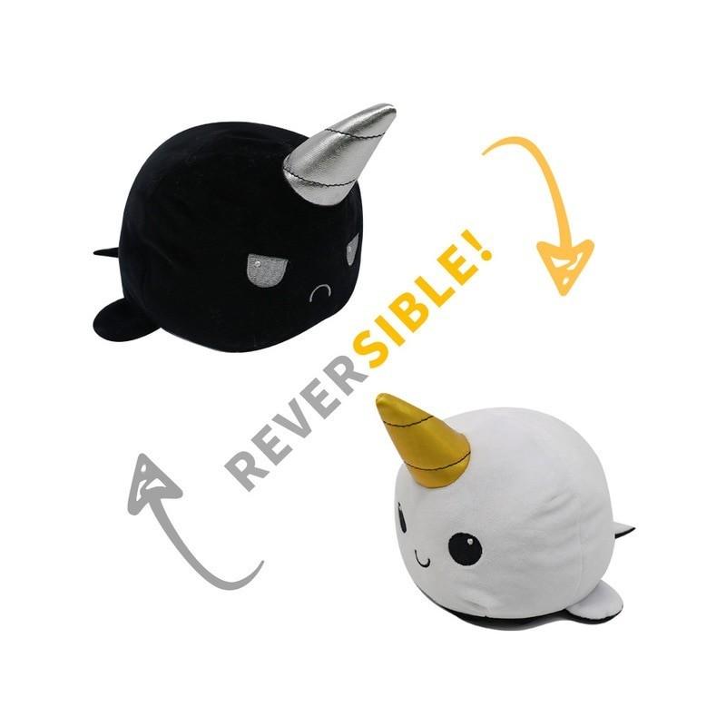 peluche licorne des mers réversible noir argenté et blanc doré